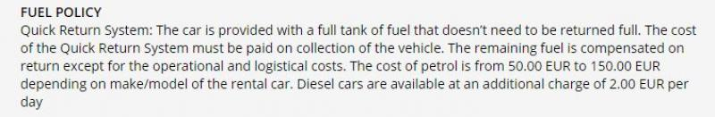 Fuel policy of a rental company