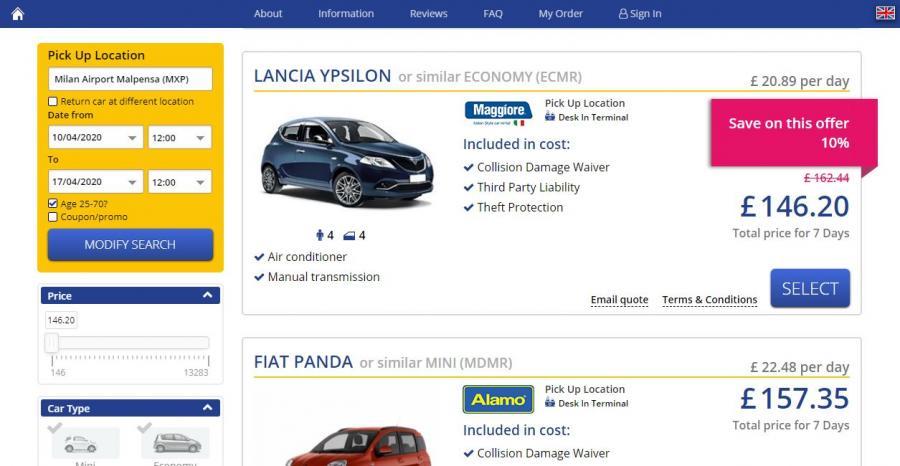 Example car rental