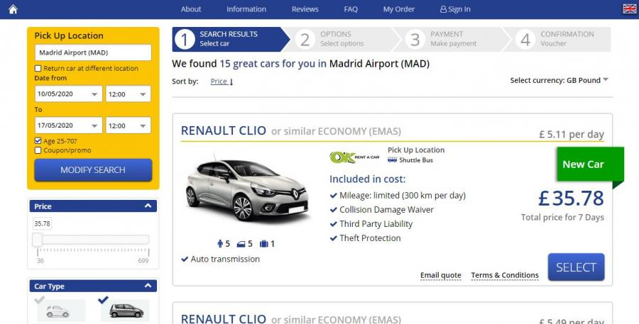 A selection of rental cars compact class with automatic with automatic transmission at a better price