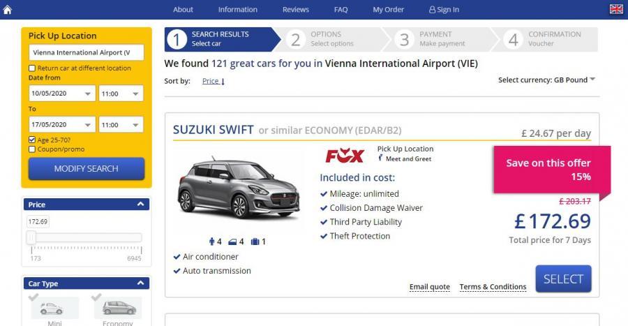 Auto rental car example