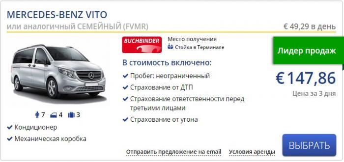 Аренда автомобиля Mercedes