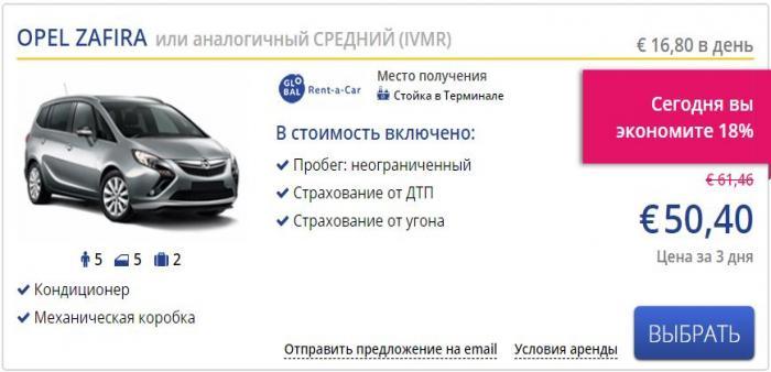 Аренда автомобиля Opel