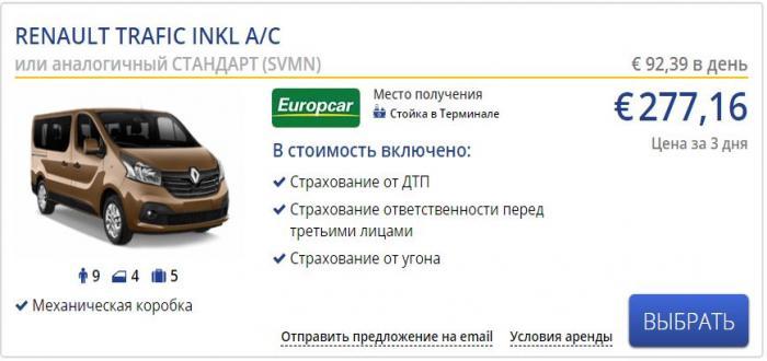 Аренда автомобиля Renault