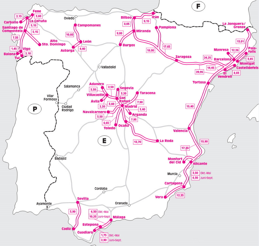 Scheme of paid roads of Spain