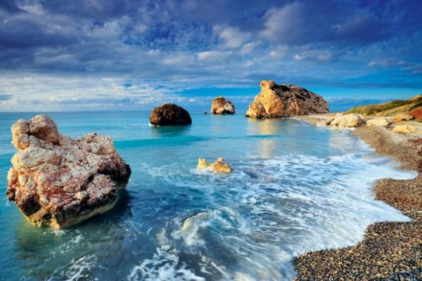 Aphrodite's rock and the beach in Paphos