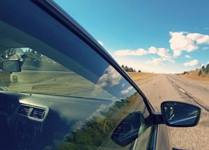 Rental car in motion